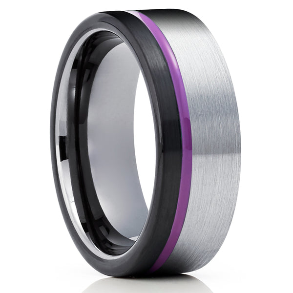 Men's Tungsten Wedding Band - Black Tungsten Ring - Purple Tungsten Ring - Gray Ring