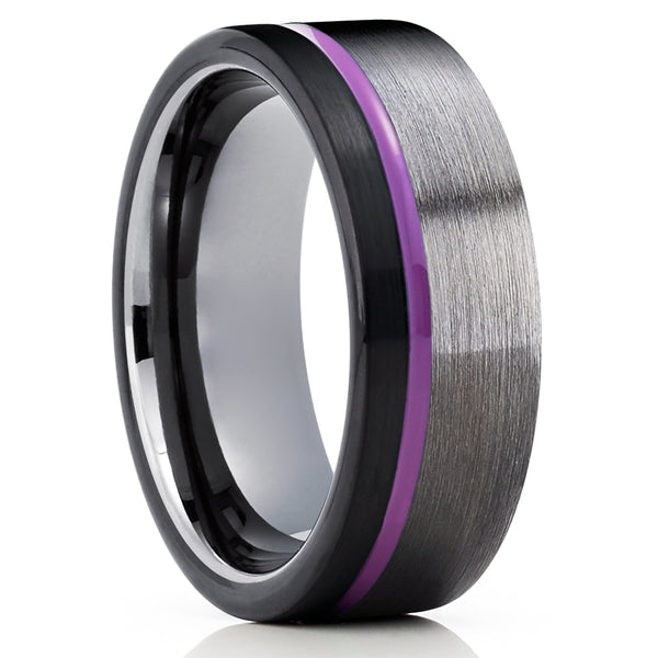 Gunmetal Tungsten Ring - Purple Tungsten Ring - Gunmetal Tungsten Ring - Men & Women