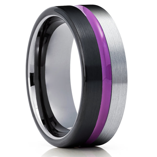 Purple Tungsten Wedding Band - Purple Wedding Ring - Black Tungsten Ring - Gray Ring