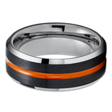 Orange Tungsten Wedding Band - Black Tungsten Ring - Gunmetal Tungsten Ring - Black
