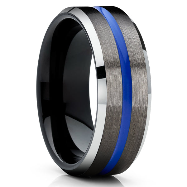 Blue Tungsten Ring - Men's Tungsten Ring - Women's Tungsten Ring - Gunmetal Tungsten