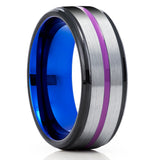Blue Tungsten Ring - Purple Tungsten Ring - Gray Wedding Band - Blue Wedding Ring