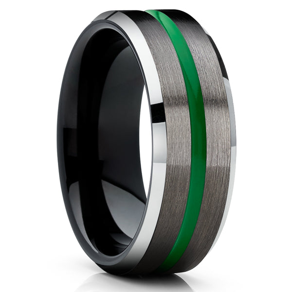 Gunmetal Tungsten Ring - Green Tungsten Ring - Tungsten Carbide - Black Tungsten Ring