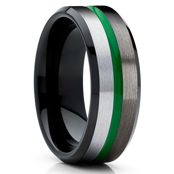 Green Tungsten Ring - Green Tungsten Wedding Ring - Gunmetal Tungsten Ring - Brush