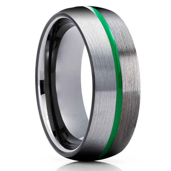 Gunmetal Tungsten Wedding Band - Green Tungsten Ring - Gray Tungsten Ring - Unique