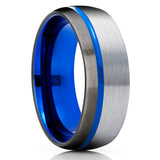 Blue Wedding Band - Blue Tungsten Ring - Gunmetal Tungsten Ring - Blue Tungsten Band