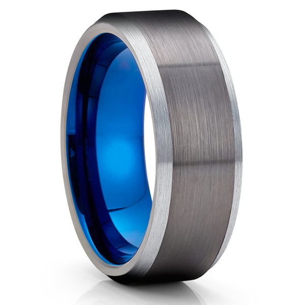 Blue Tungsten Wedding Ring - Gunmetal Ring - Gunmetal Tungsten Ring - Anniversary Ring