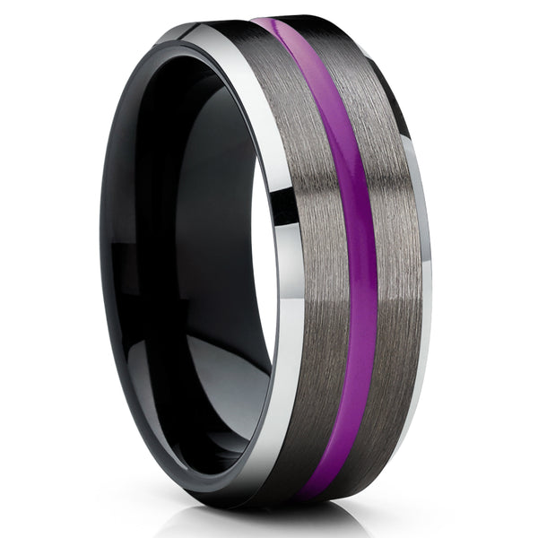 Purple Tungsten Ring - Black Tungsten Ring - Gunmetal Wedding Band - Purple Ring