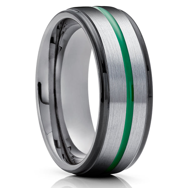Gunmetal Tungsten Ring - Green Tungsten Ring - Anniversary Ring - Gray Tungsten Ring