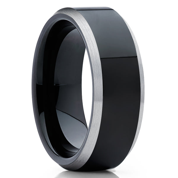 Black Tungsten Wedding Ring - Black Tungsten Ring - Black Wedding Band - Shiny Ring
