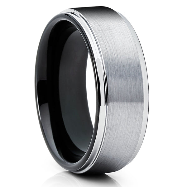 Black Tungsten Wedding Band - 8mm & 6mm - Black Tungsten Ring - Silver Tungsten Ring