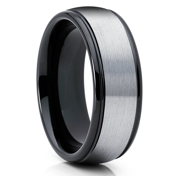 Black Tungsten Wedding Band - Gray Tungsten Ring - Men & Women - Black Tungsten Ring