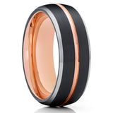 Black Tungsten Wedding Band - Rose Gold Tungsten - 8mm Tungsten Ring - Engagement