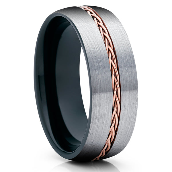 Black Tungsten Ring - Braid Ring - Rose Gold Tungsten Wedding Ring - Gray Tungsten Ring