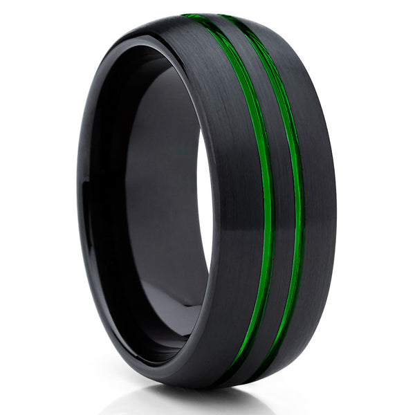 Green Tungsten Wedding Band - Green Ring - Green Tungsten Ring - 8mm - Clean Casting Jewelry