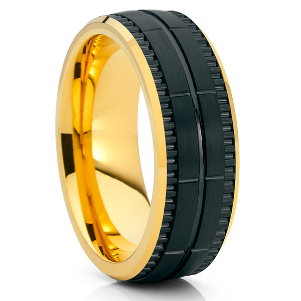 Yellow Gold Tungsten Ring - Black Wedding Band - Yellow Gold Tungsten Band - Clean Casting Jewelry