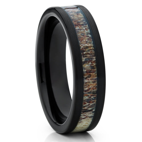 6mm - Deer Antler Wedding Band - Tungsten Ring - Black - Antler Band - Clean Casting Jewelry