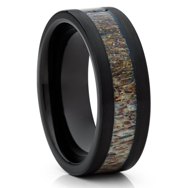Deer Antler Tungsten Wedding Band - Black Ring - Antler Wedding Band - Clean Casting Jewelry