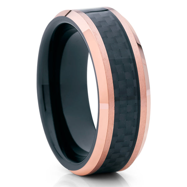 Carbon Fiber Ring - Rose Gold Tungsten - Wedding Band - Tungsten Ring - 8mm - Clean Casting Jewelry