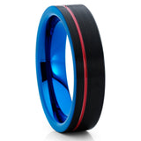 6mm - Red Tungsten Ring - Tungsten Wedding Band - Blue Tungsten Ring - Clean Casting Jewelry