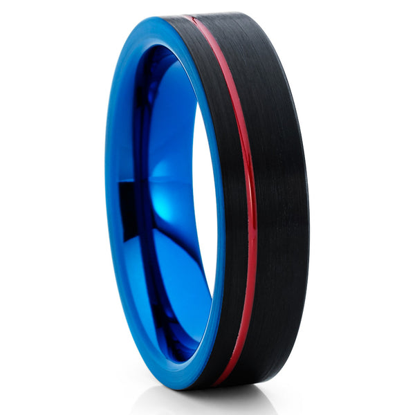 6mm,Red Tungsten Ring,Blue Tungsten Band,Brushed Tungsten Band,Wedding Ring