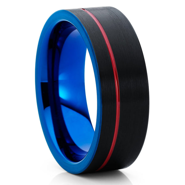 Red Tungsten Ring - Red Wedding Band - Black Ring - Tungsten Wedding Band - Clean Casting Jewelry