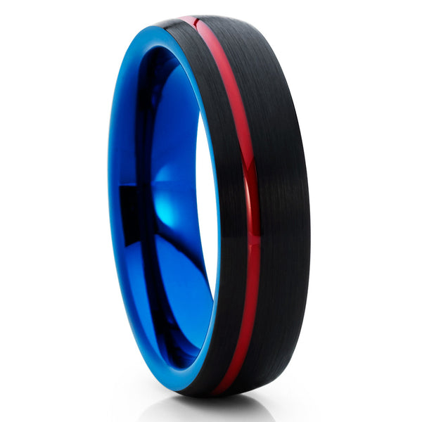 6mm - Red Tungsten Ring - Blue Tungsten Wedding Band - Black Ring