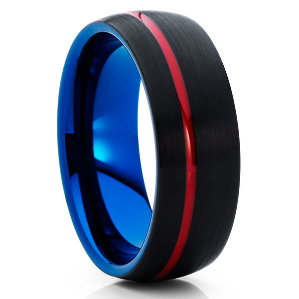 Black Tungsten Ring - Blue Tungsten - Red Tungsten Ring - Brush Band - Clean Casting Jewelry