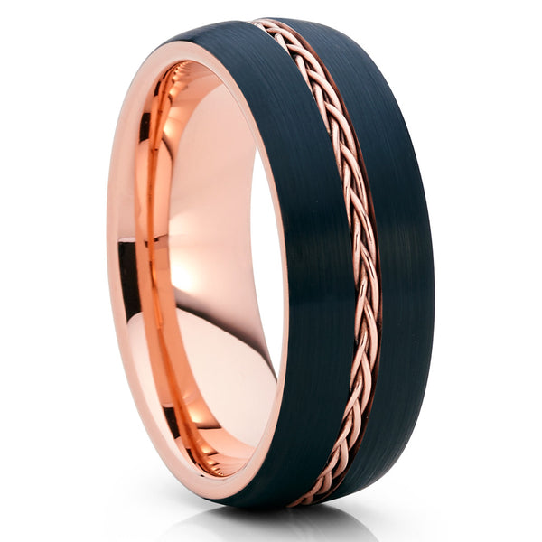 8mm - Rose Gold Tungsten - Black Wedding Band - Braid Ring - Tungsten Ring - Clean Casting Jewelry