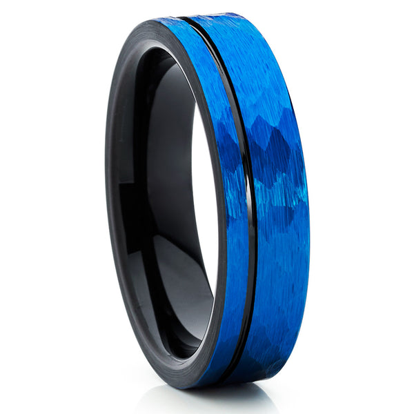 6mm - Blue Tungsten Ring - Blue Tungsten - Black Wedding Ring - Hammer - Clean Casting Jewelry