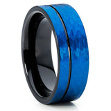 Black Tungsten - Men's Wedding Band - Blue Tungsten Ring - 8mm - Brush - Clean Casting Jewelry