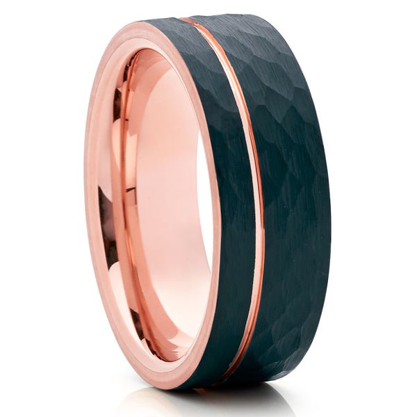 Rose Gold Tungsten - Rose Gold Tungsten Band - Hammered Ring - Black - Clean Casting Jewelry