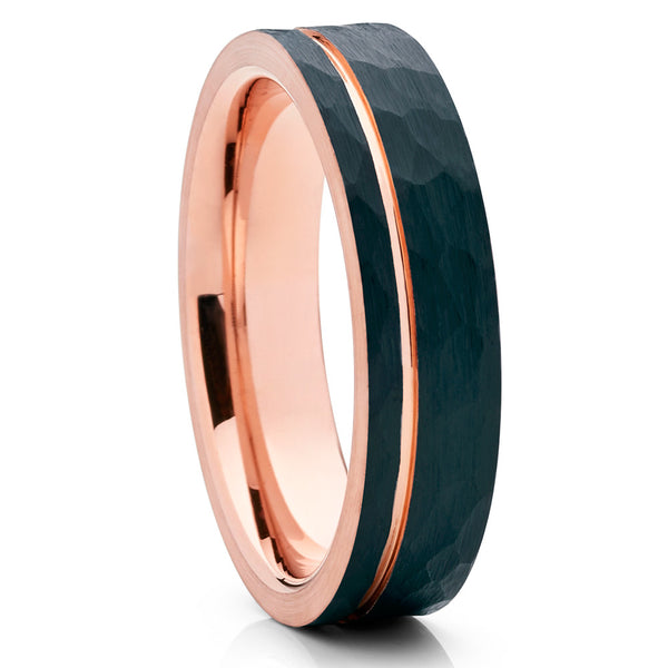 6mm - Rose Gold Tungsten - Black Tungsten - Hammered Ring - Brush - Clean Casting Jewelry