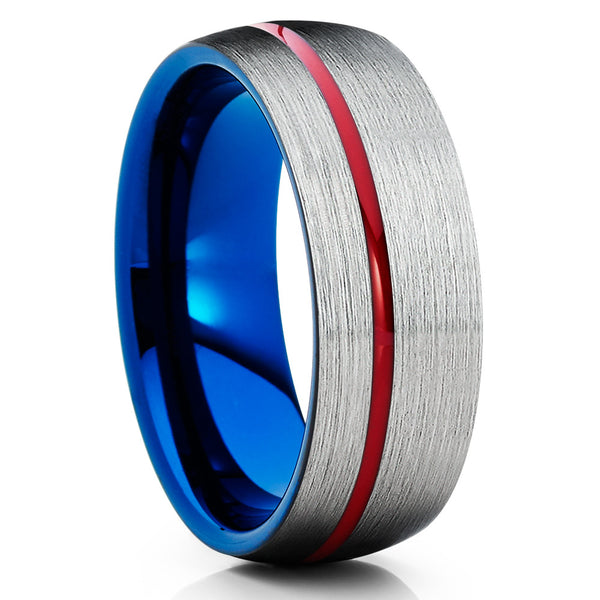Red Tungsten Wedding Band - Blue Tungsten Ring - Red Wedding Ring - 8mm - Clean Casting Jewelry