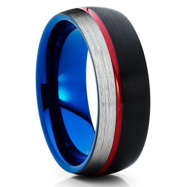 Blue Tungsten Wedding Band - Red Wedding Band - Black Tungsten - Brush - Clean Casting Jewelry