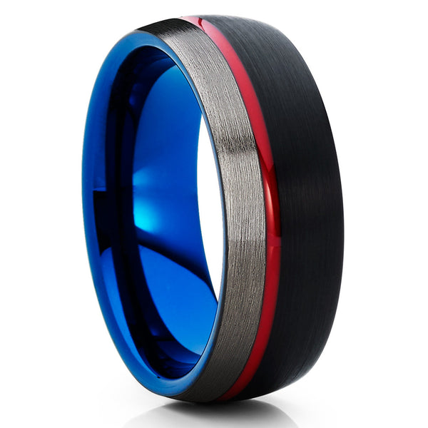 Red Tungsten Ring - Blue Wedding Band - Tungsten Wedding Ring - Gunmetal - Clean Casting Jewelry