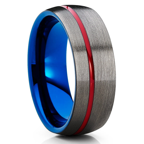 Gunmetal Tungsten Ring,Red & Blue Tungsten Ring,Tungsten Wedding Bands,Brushed