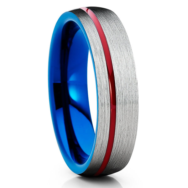 6mm,Red & Blue Tungsten Ring,Tungsten Wedding Bands,Grey Tungsten Ring