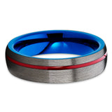 Gunmetal Tungsten Ring,Red and Blue Tungsten,Tungsten Wedding Bands,Unique