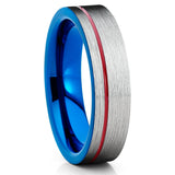 Blue Tungsten Ring - Men's Tungsten Ring - Red Tungsten Band - Silver - Clean Casting Jewelry