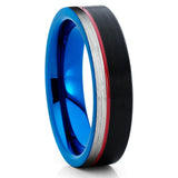 Red Tungsten Ring - Black Wedding Band - Tungsten Wedding Band - Blue - Clean Casting Jewelry