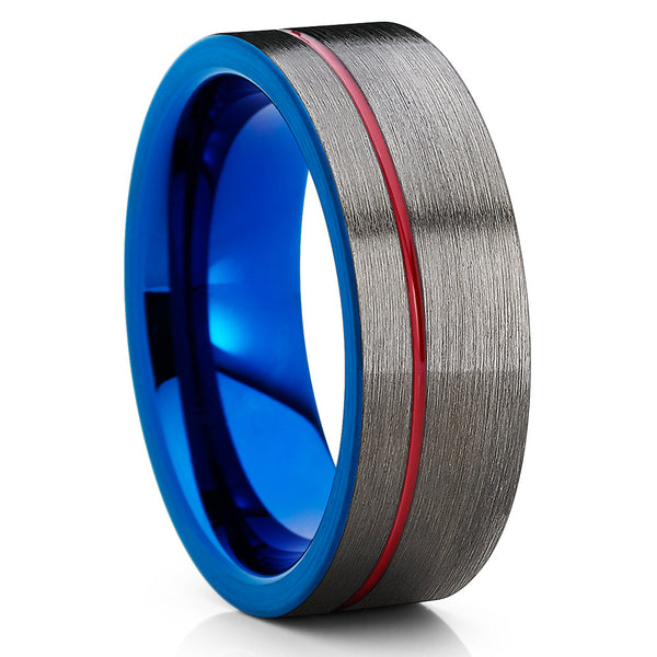 Red Tungsten Ring - Gunmetal -  Blue Tungsten Ring - Men's Ring - Clean Casting Jewelry