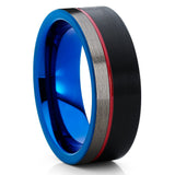 Red Tungsten Wedding Band - Black Tungsten Ring - Red Tungsten Ring - Clean Casting Jewelry