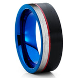 Brushed,Black Tungsten Ring,Blue & Red Tungsten Band,Tungsten Wedding Ring,Black