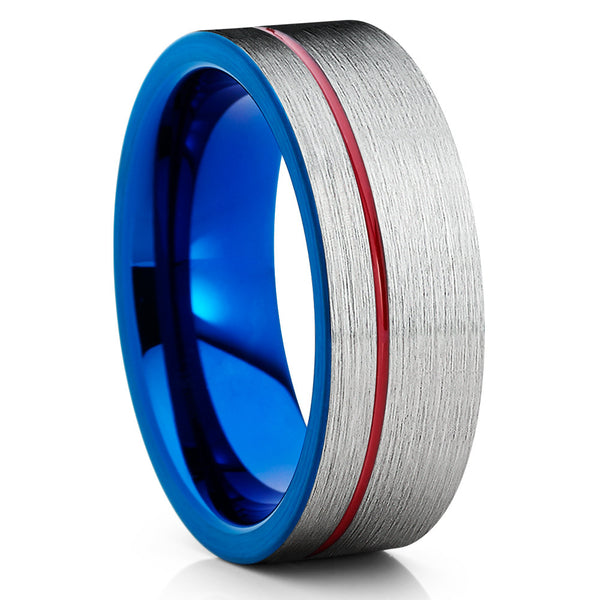 8mm,Grey Tungsten Ring,Tungsten Wedding Bands,Red & Blue Tungsten Ring,Unique