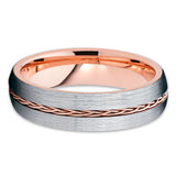 6mm - Rose Gold Tungsten Ring - Braid Ring - Rose Gold Tungsten Band - Clean Casting Jewelry