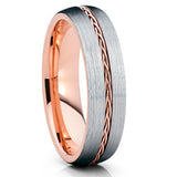 6mm,Rose Gold Tungsten,Rose Gold Braid,Tungsten Wedding Band,Grey Tungsten