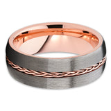 Rose Gold Tungsten Wedding Band - Braid Ring - Gunmetal Gray - Brush Ring - Clean Casting Jewelry