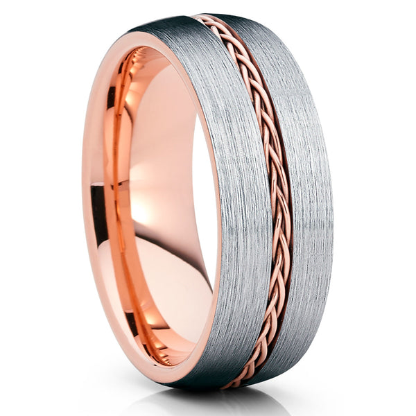 Rose Gold Tungsten Wedding Band - Braid Ring - Rose Gold Tungsten Ring - Clean Casting Jewelry
