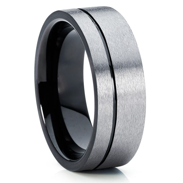 Black Tungsten Ring - Black Wedding Band - Gray Tungsten Ring - Brush - Clean Casting Jewelry